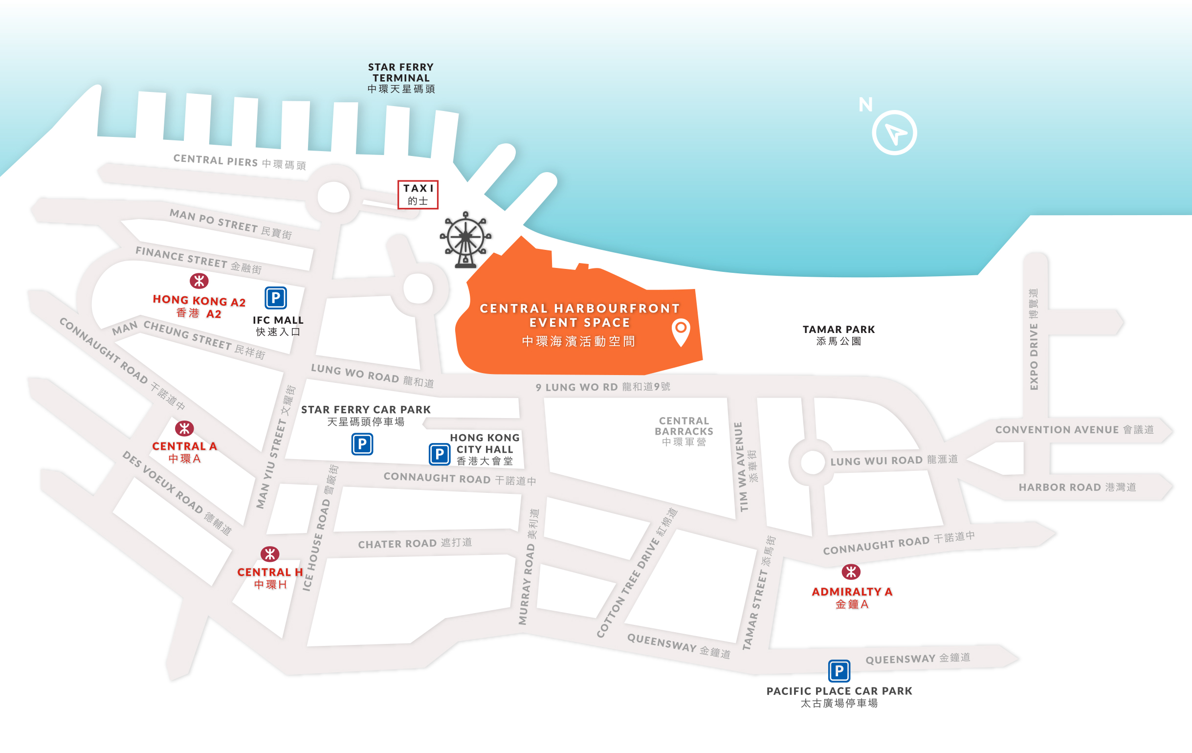 Contact Us Central Harbourfront Event Space - Us to hong kong map